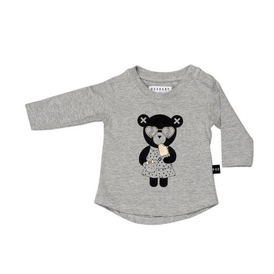HUXBABY HEART BEAR LS TOP GREY MARLE