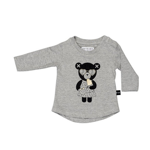 HUXBABY HEART BEAR LS TOP GREY MARLE-top-HUXBABY-Billie & Axel, Montreal, Canada & USA