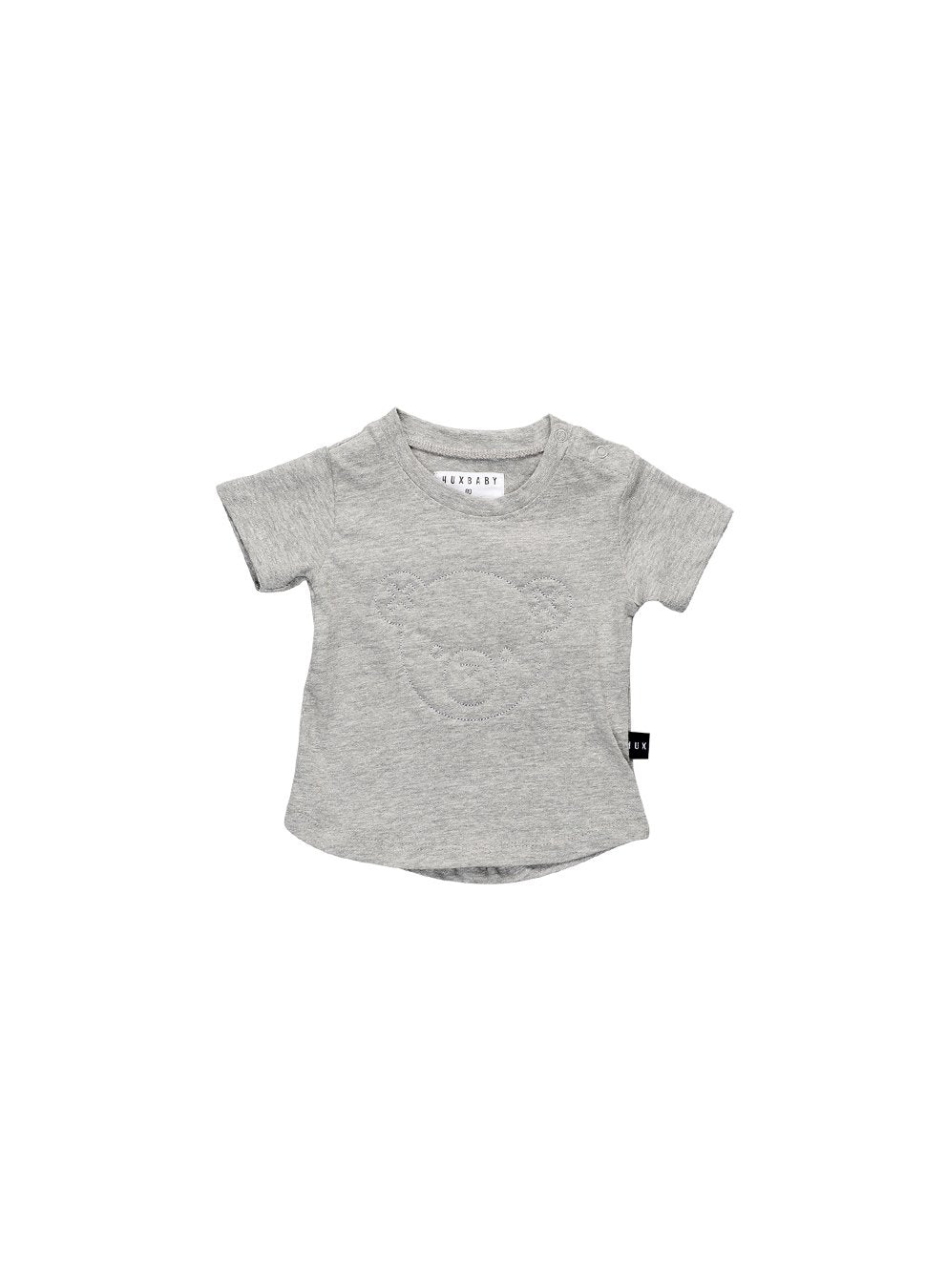 HUXBABY STITCH BEAR DB T-SHIRT GREY MARLE-t-shirt-HUXBABY-Billie & Axel, Montreal, Canada & USA