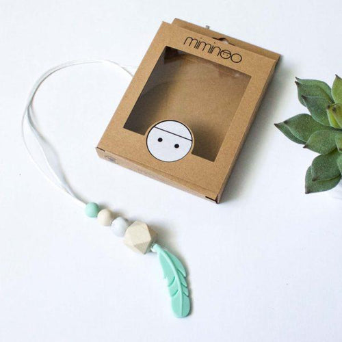 MIMINOO FEATHER SILICONE PENDANT TEETHING NECKLACE MINT