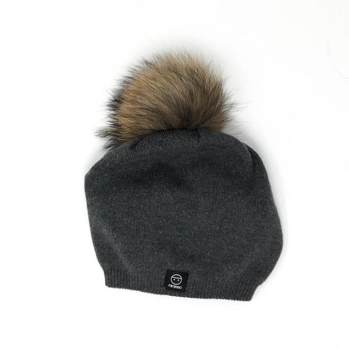 Adult Lean Back Single Pompom Hat Base in Charcoal-Winter Hats-Miminoo Montreal Canada USA.