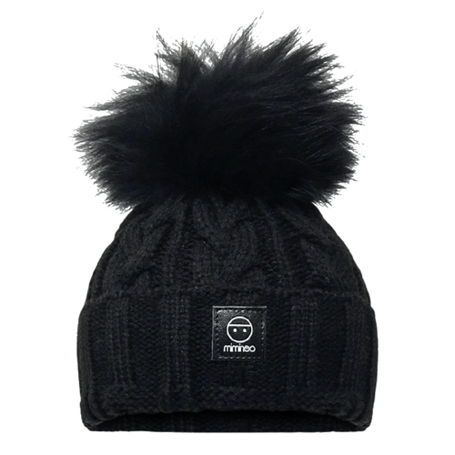 Merino Wool Single Pompom Braided Hat Base in Black-Winter Hats-Miminoo Montreal Canada USA.