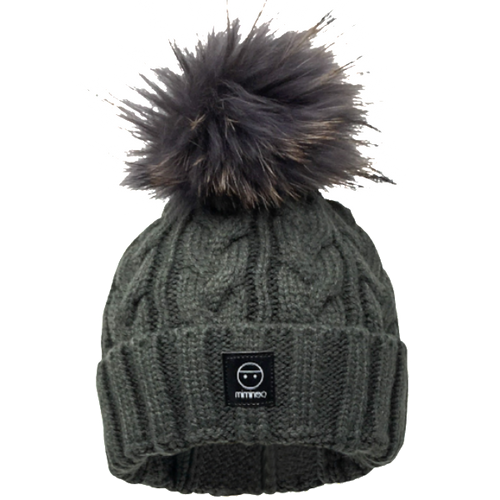Merino Wool Single Pompom Braided Hat Base in Charcoal-Winter Hats-Miminoo Montreal Canada USA.