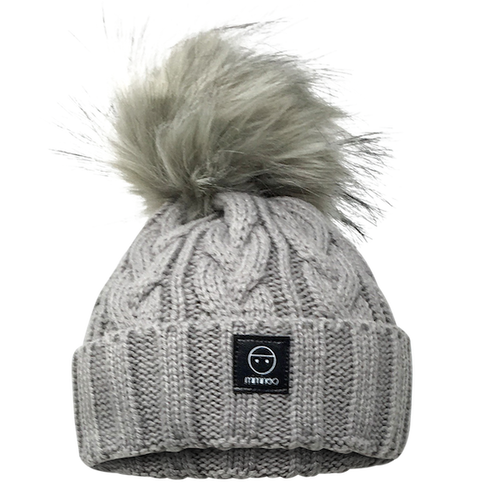 Merino Wool Single Pompom Braided Hat Base in Light Grey-Winter Hats-Miminoo Montreal Canada USA.