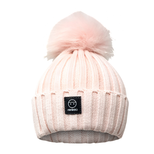 Angora Classic Line Hat Baby Pink One Pompom-Winter Hats-Miminoo Montreal Canada USA.