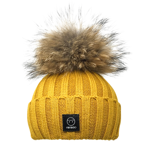 Angora Classic Line Hat Double Pompoms Mustard-Winter Hats-Miminoo Montreal Canada USA.