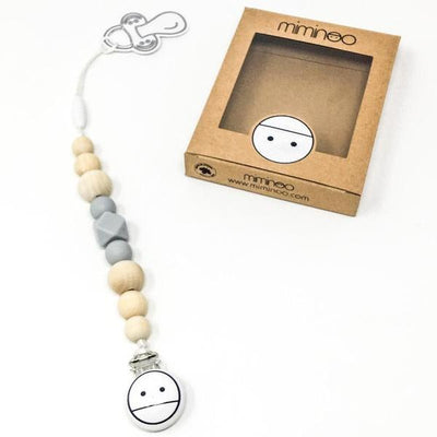 2-in-1 Pacifier Clip Light Grey-2-in-1 Pacifier-Miminoo Montreal Canada USA.