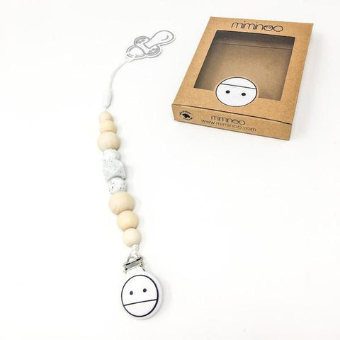 miminoo 2 in 1 baby teether & pacifier clip Gritty Billie & Axel, Montreal, Canada & USA.