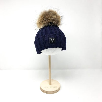 Angora Classic Line Hat Black Double Pompoms-Winter Hats-Miminoo Montreal Canada USA.