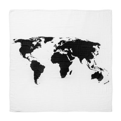 modern burlap organic cotton muslin swaddle blanket world map Billie & Axel, Montreal, Canada USA