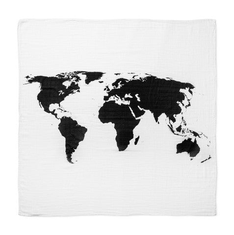 MODERN BURLAP ORGANIC COTTON MUSLIN SWADDLE BLANKET WORLD MAP Billie & Axel, Montreal, Canada