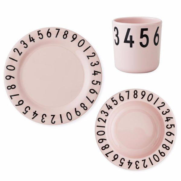 Design Letters Melamine Kids Dinner Set Pink