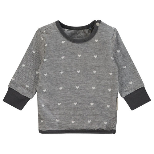 NOPPIES Sweater Wayne Charcoal with Hearts print for baby girl at Billie & Axel USA CANADA