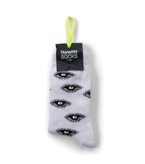 NUNUNU EYE SOCKS WHITE