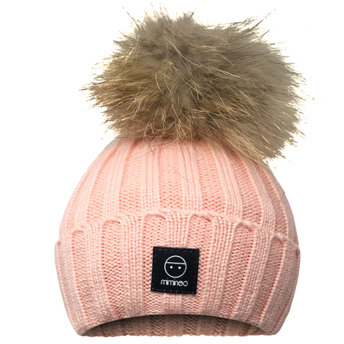 Angora Classic Line Hat Coral Pink One Pompom-Winter Hats-Miminoo Montreal Canada USA.