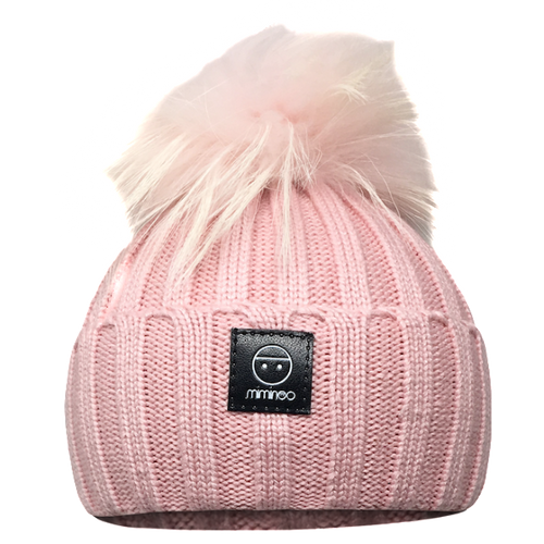 Angora Classic Line Hat Blush Pink One Pompom-Winter Hats-Miminoo Montreal Canada USA.