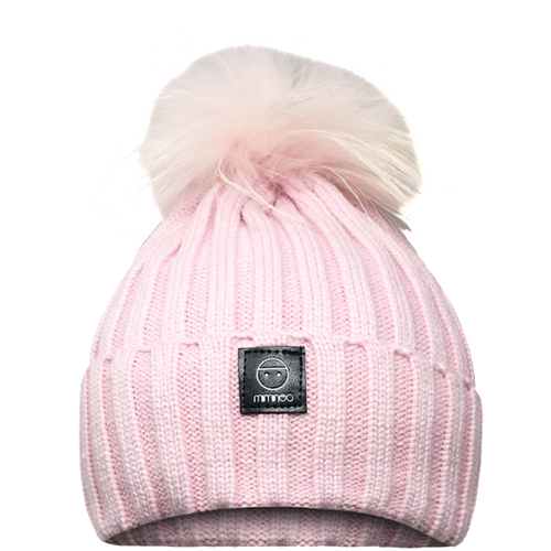 Angora Classic Line Hat Pink One Pompom-Winter Hats-Miminoo Montreal Canada USA.