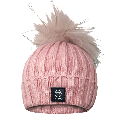 Angora Classic Line Hat Dusty Pink One Pompom-Winter Hats-Miminoo Montreal Canada USA.