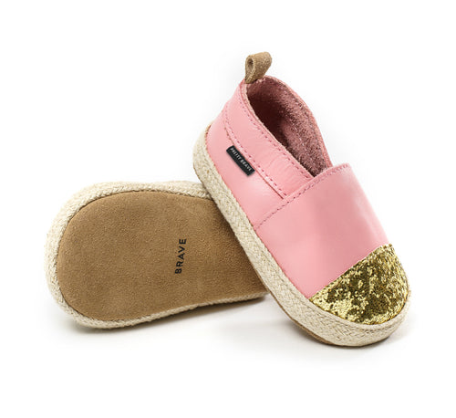 pretty brave espadrille soft pink with glitter toe Billie & Axel, Montreal, Canada, USA