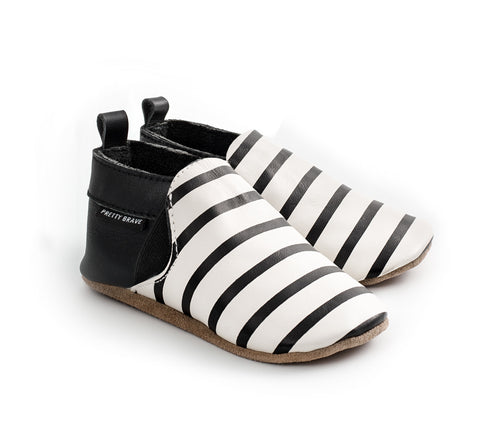 PRETTY BRAVE SLIP ON BLACK AND WHITE STRIPES