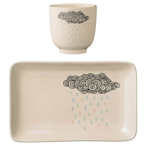 BLOOMINGVILLE SET OF 2 CERAMIC RAIN CLOUD PLATE & CUP Billie & Axel, Montreal, Canada