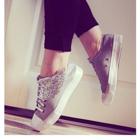 Shwings Wings Shoes Glitter Silver