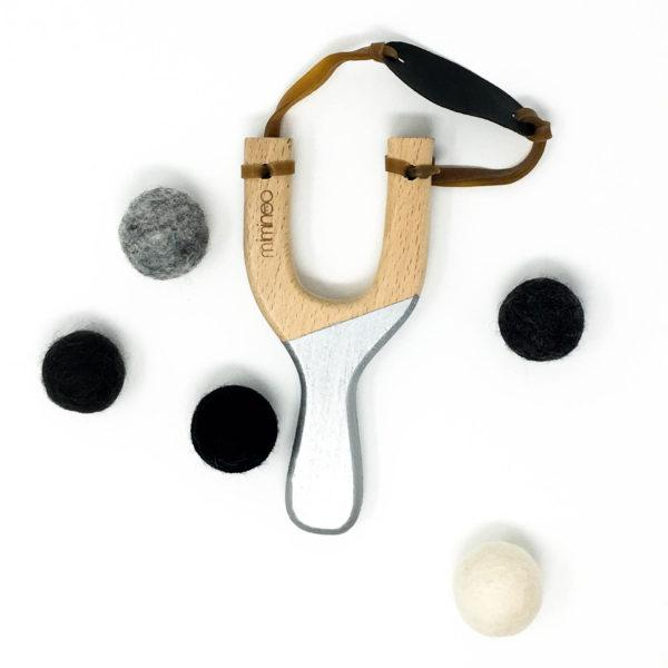 Miminoo Wooden Slingshot Silver with Felt Balls & Storage Bag