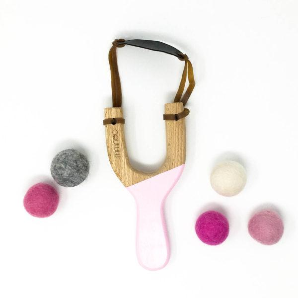 Miminoo Wooden Slingshot Pink with Felt Balls & Storage Bag