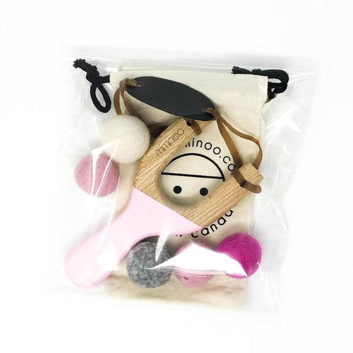 Hand Painted Wooden Slingshot With 5 Felt Balls Pink-Miminoo Montreal Canada USA.