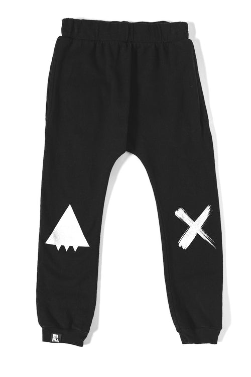 MINI AND MAXIMUS ORGANIC COTTON SMILE DROP CROTCH PANT BLACK Billie & Axel, Montreal, Canada