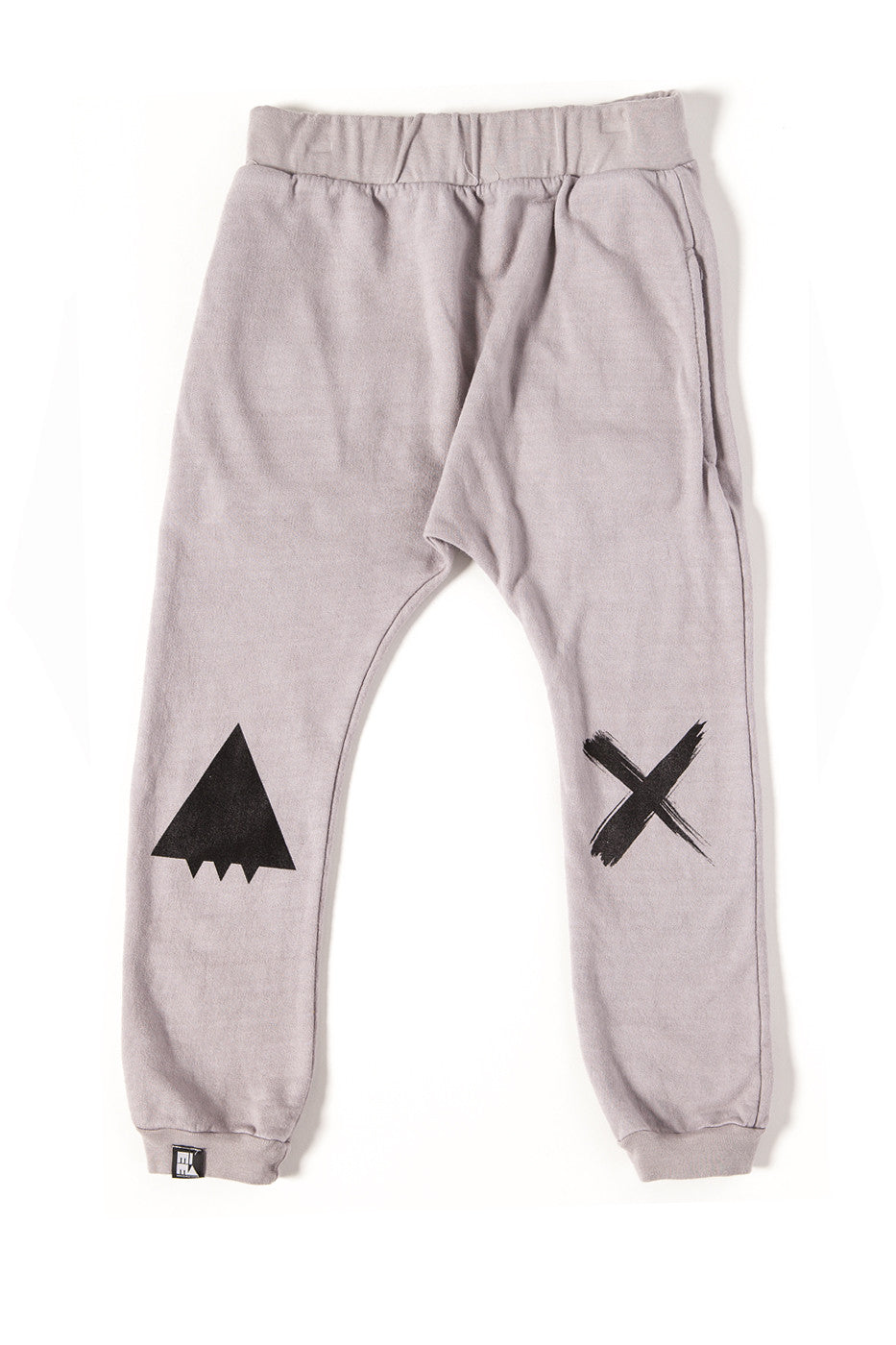 Mini And Maximus Organic Cotton Smile Drop Crotch Pant Cool Gray-PANT-MINI AND MAXIMUS-Billie & Axel, Montreal, Canada & USA
