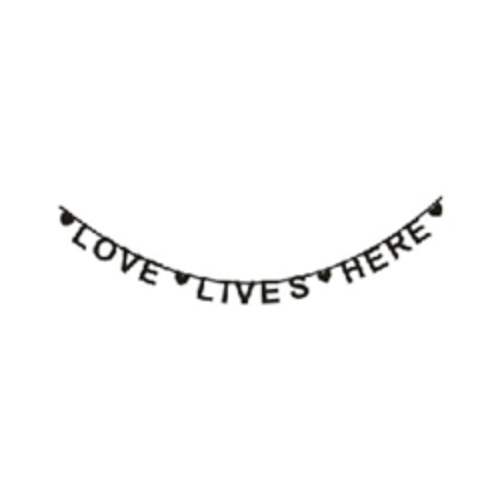 "Wall Decal Banner ""Love Lives Here"" Black-WALL STICKERS-MODERN KIDS SOCIETY-Billie & Axel, Montreal, Canada & USA"