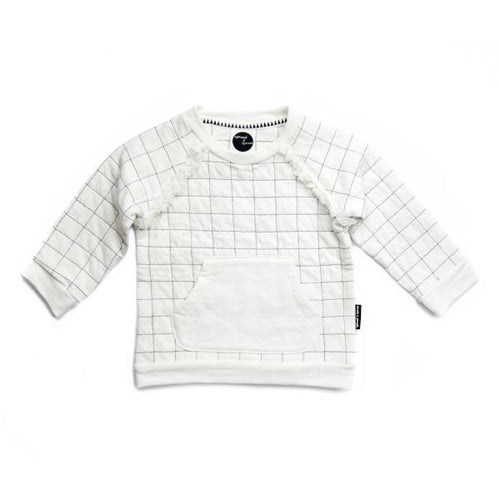 "Sproet & Sprout Sweater ""Grid"" White-SWEATER-SPROET & SPROUT-Billie & Axel, Montreal, Canada & USA"