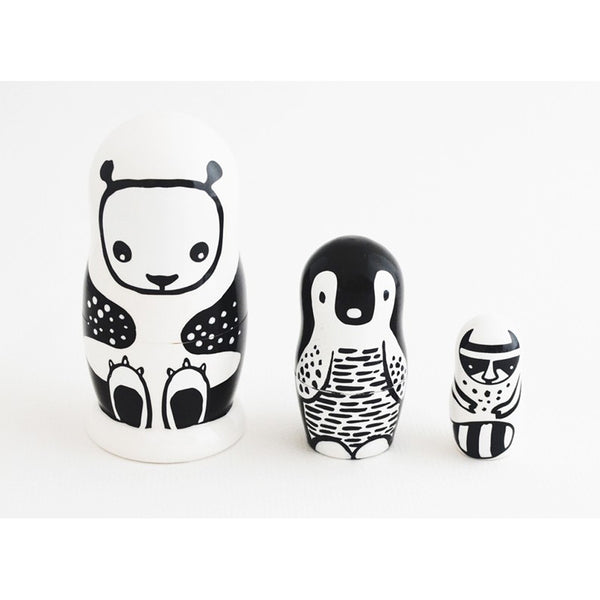 WEE GALLERY NESTING DOLLS BLACK & WHITE ANIMALS Billie & Axel, Montreal, Canada