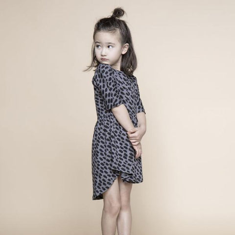 HUXBABY BIG CAT SWIRL DRESS STEEL GREY