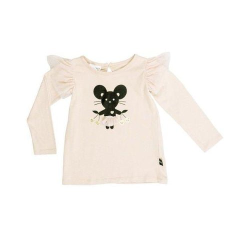Huxbaby Mouse Frill Long Sleeve Top Peony