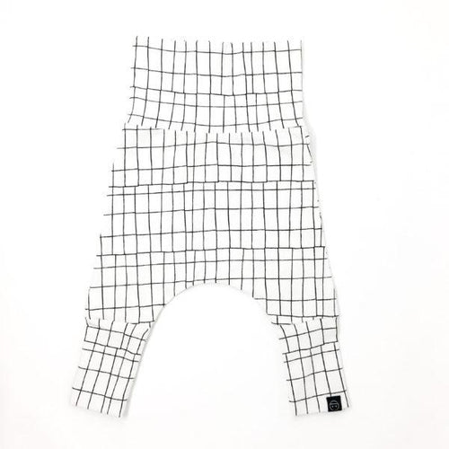 Evolo Grow with Baby Harem Pants Cotton Grid White-EVOLO PANTS-Miminoo Montreal Canada USA.