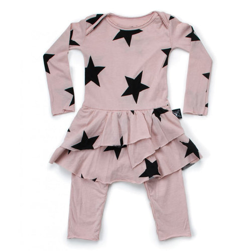 Nununu Star Onesie Skirt Powder Pink-DRESS-NUNUNU-Billie & Axel, Montreal, Canada & USA