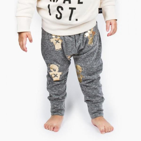 HUXBABY SOLDIER BEARS DROP CROTCH PANTS CHARCOAL SLUB/GOLD