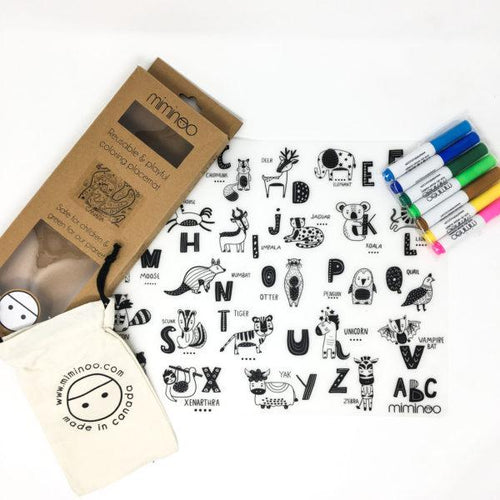 Reusable Coloring Silicone Tablemat, 7 Pens & Storage Bag ABC USA & Canada