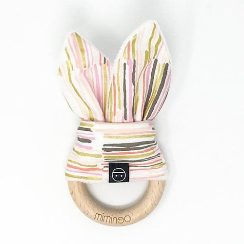 Miminoo Wood Teether Bunny Ears Stripes