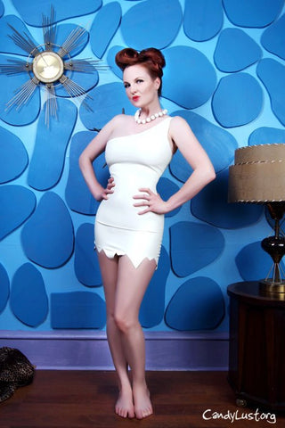 Latex Cosplay: Wilma from the Flinstones Costume