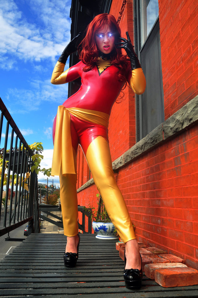 Latex Cosplay: Telekinetic Firebird Supervillian - inspired costume