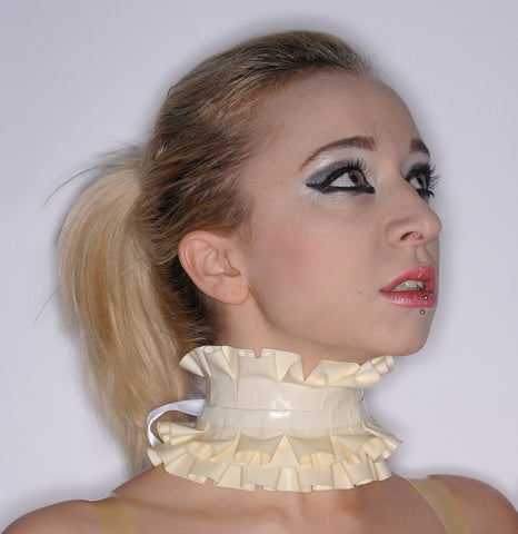 Latex Asymetrical Double Ruffle Choker