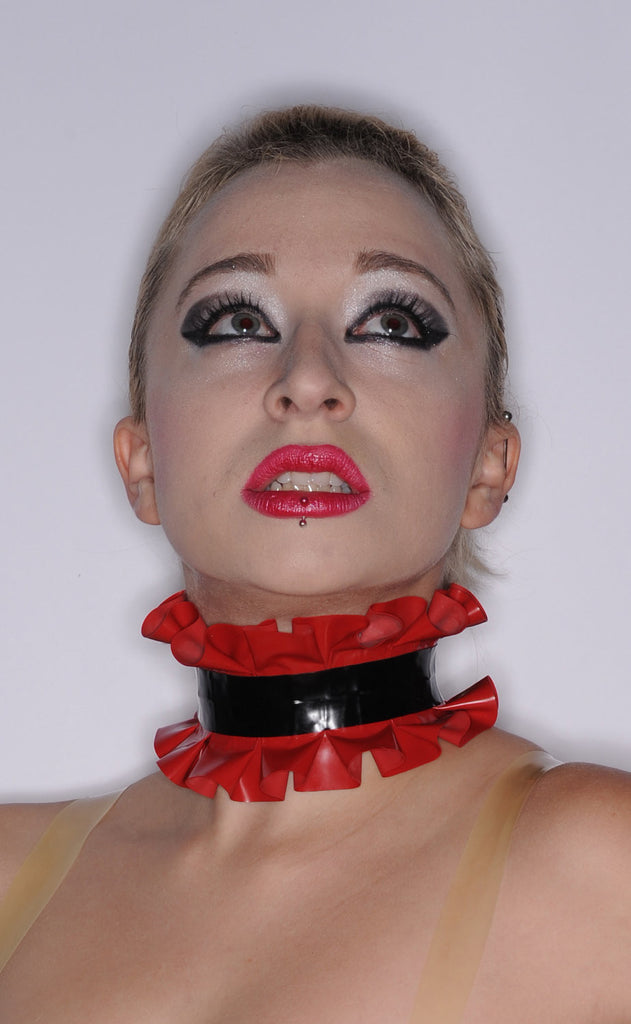 Latex Single Ruffle Two Color Choker - smaller ruffle