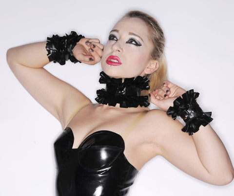 Latex Double Ruffle Choker