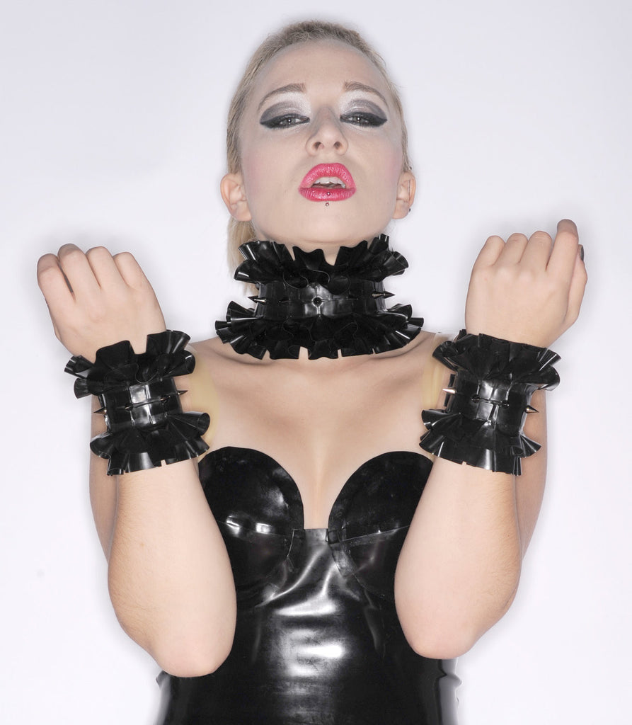 Latex Double Ruffle Wrist Cuffs with SPIKES