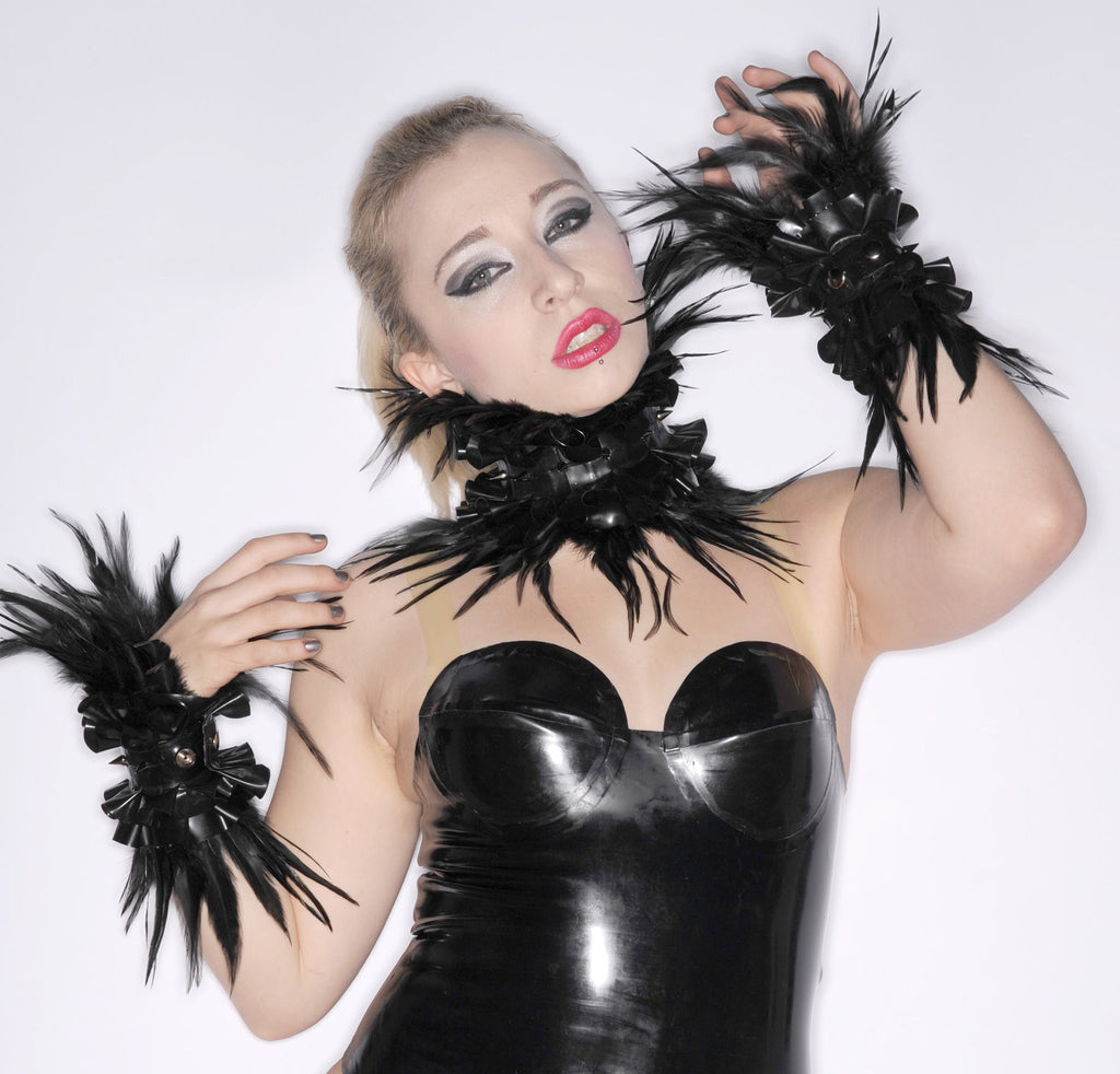Latex Double Ruffle Wrist Cuffs with Spikes and Feathers