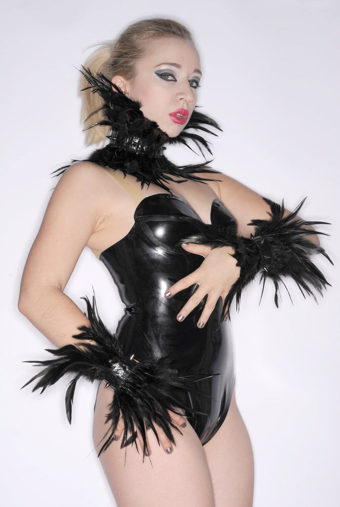 Latex Wrist Cuffs with SPIKES and FEATHERS