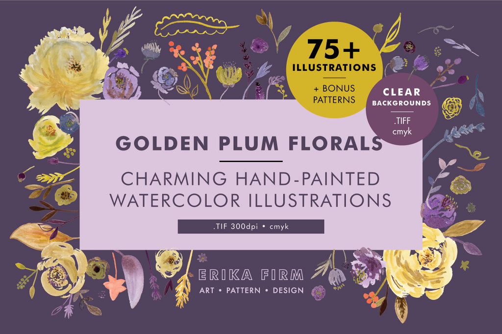 Golden Plum Watercolor Floral Illustrations